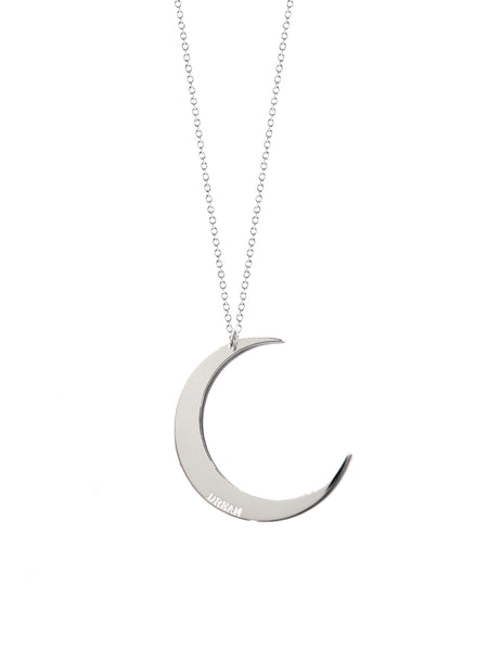Vesta Initial and Crescent Moon Medallion Necklace