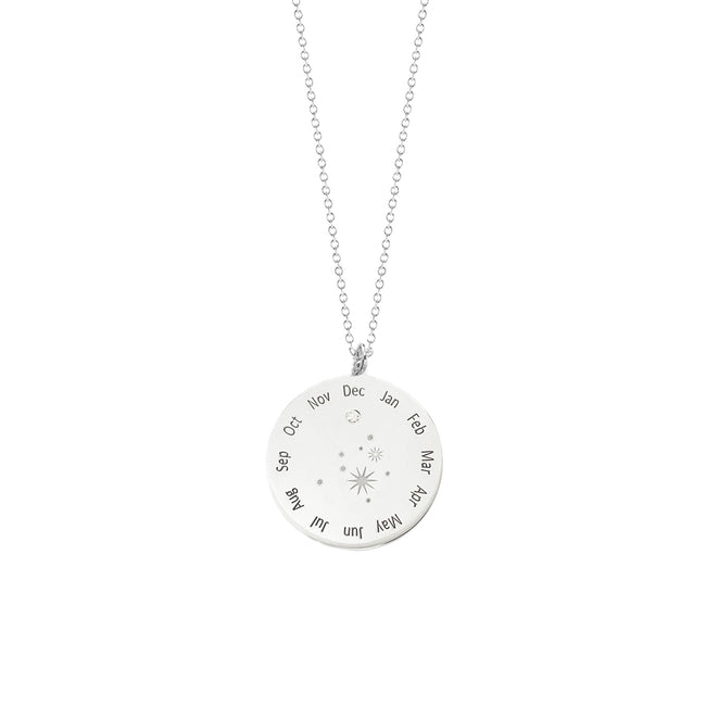Calendar Diamond Wheel Necklace
