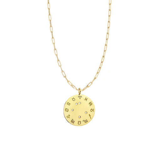 Zodiac Diamond Wheel Necklace