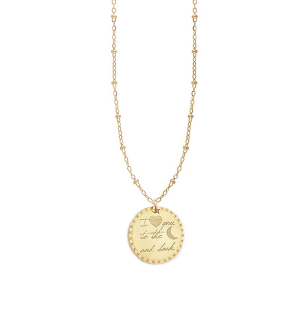Vesta Initial Heart and Crescent Moon Medallion Necklace