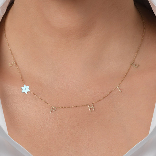 Spaced Initials and Star of David Diamond Necklace