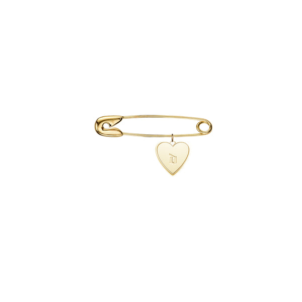 Baby Safety Pin Initial Heart Charm