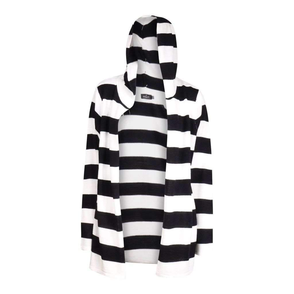 Ladies Long Sleeve Striped Hooded Cardigan Fly Away