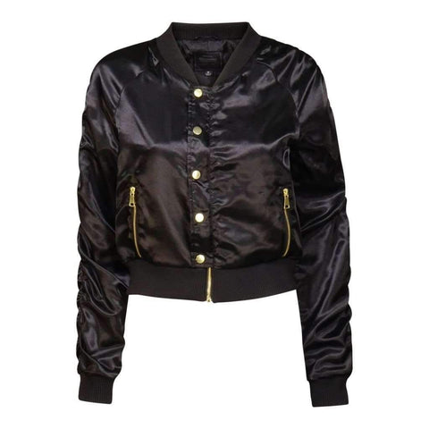 Ladies Jacket Bomber L/S With Bottons & Zipper Color Black