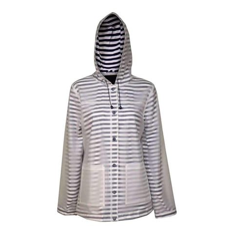 Ladies Rain Coat Hooded Rubber W-Stripe Contras Lining Snap Front Color Clear Navy