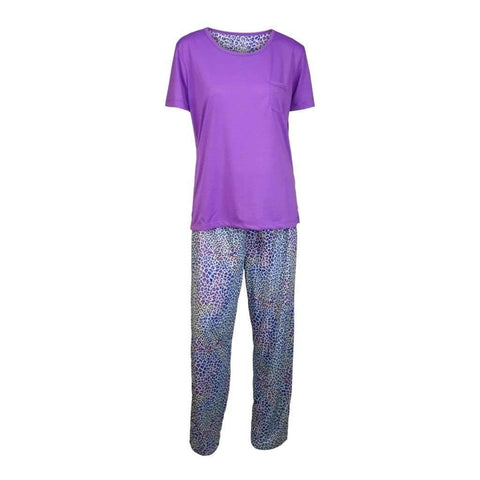 Ladies 2Pc Pj Set Short Sleeves Printed Bottom & Solid Top Sizes-