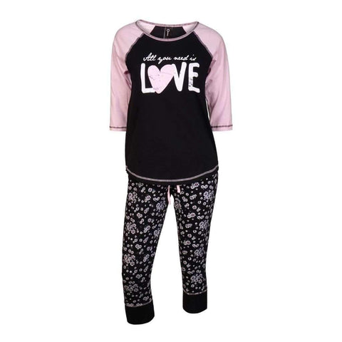 Ladies 2Pc Pj Set Top Raglan Sleeves