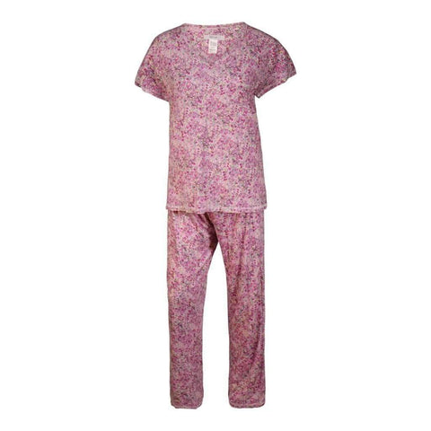 Ladies 2Pc Pj Set Liz & Co Printed Short Sleeves Top & Pants
