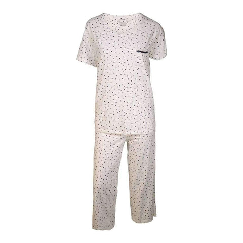 Ladies 2Pc Printed Pj Set Capri Pants & Short Sleeves Top