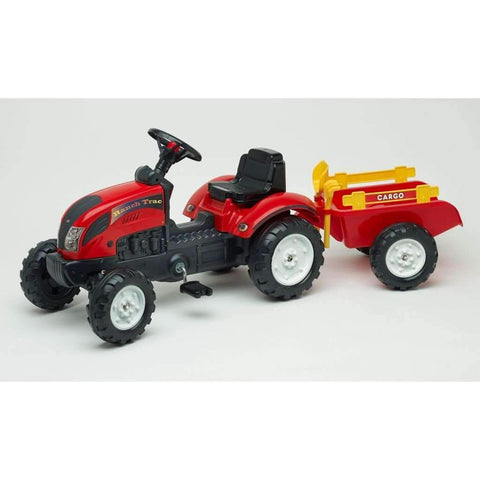 Falk - RanchTrac Pedal Tractor w/ Trailer + Rake & Shovel, Red
