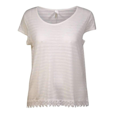 Ladies O/S Top Crew Neck Tone On Tone Cap Sleeve With Bottom Croche