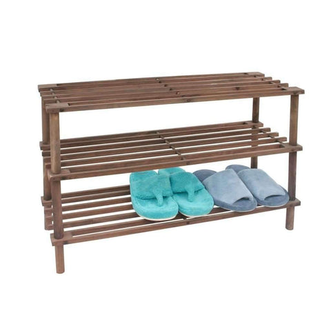 Maison Condelle - 3 Tier Dark Wood Shoe Rack