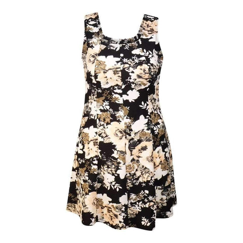 Ladies O/S Sleveless Dress With Princess Line & Open Back Printed