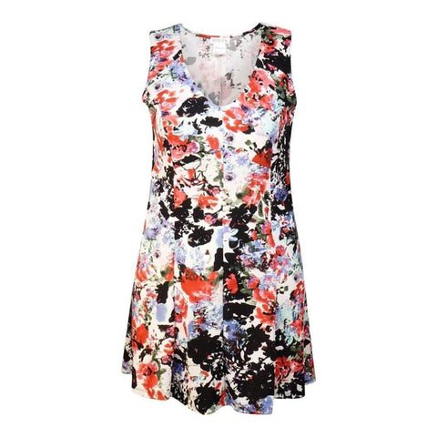 Ladies O/S V Neck Sleeveless Dress With Princess Line Printed