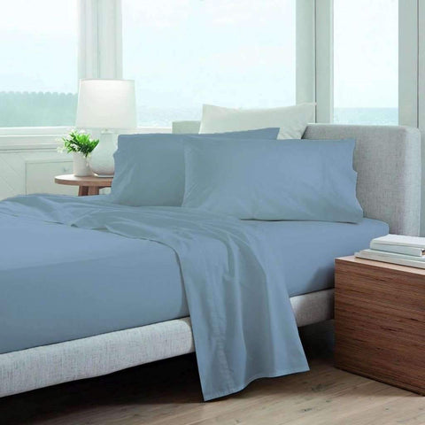 220 Thread Count Cotton Blend Bed Sheets - Blue
