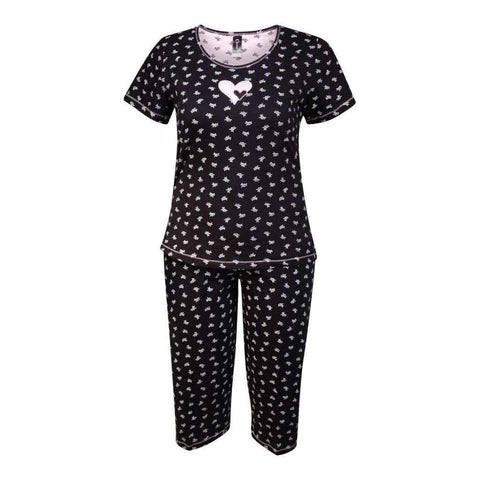 2Pc Pj Set - Capri & Short Sleeves Top With Embroidered Detail