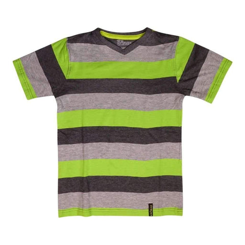 Boys 8-16 T-Shirt W-Stripe Dyed Orange & Lime Combo