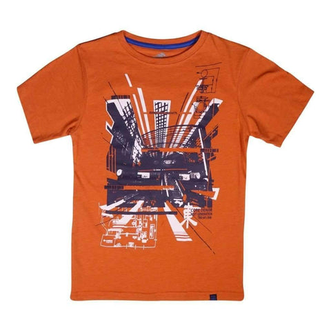 Boys 8-16 T-Shirt W-Chest Printes Royal Et Orange Melange