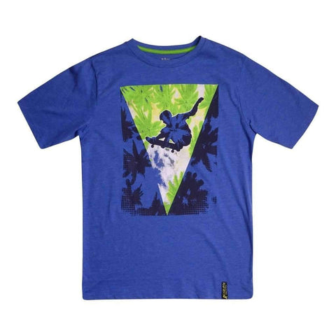 Boys 8-16 T-Shirt Printed Royal & Lime Melange