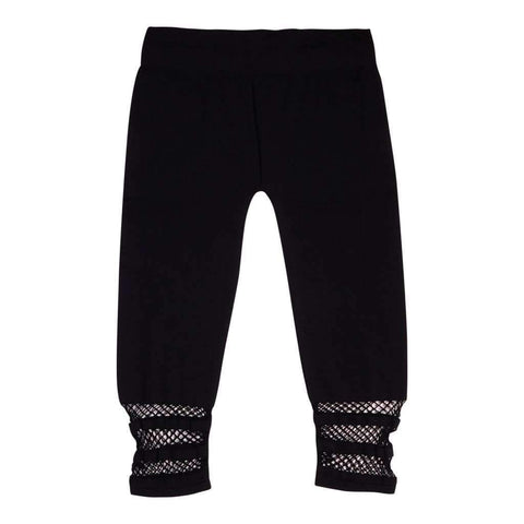Girls 7-16 Seamless Leggings With Net Detail Color-Black-White