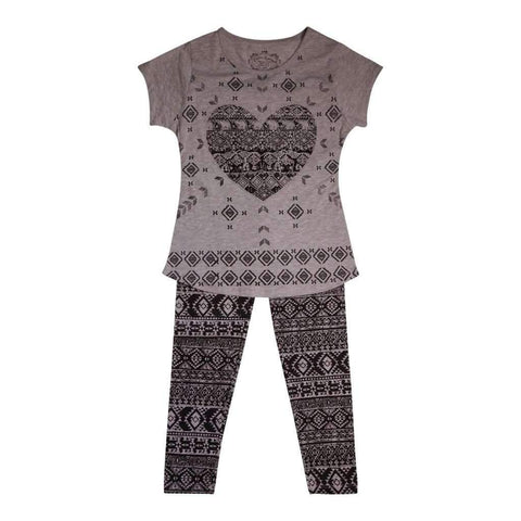 Girls 2Pc Set Short Sleeve Top & Printed Leggings Poly/Cotton Jersey Knit