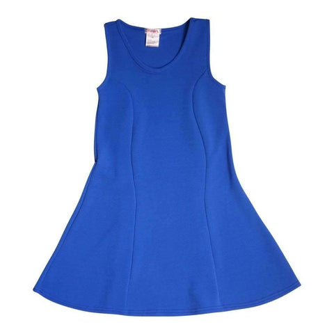 Girls Dress Solid Textured V Neck Blue-Jade-Pink