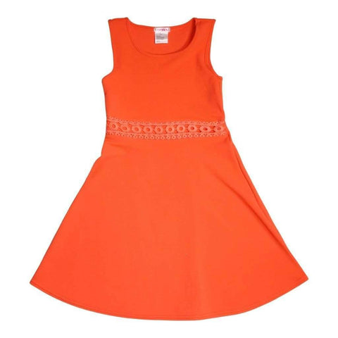 Girls 7-16 Dress Solid W-Crochet Waist Band Hot Coral & Ivory