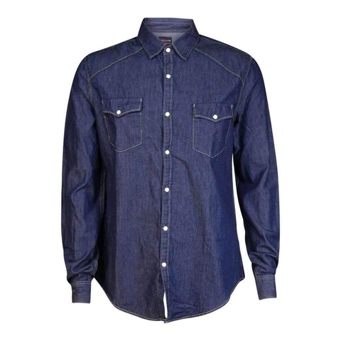 Mens Long Sleeves Denim Shirt With Pearl Snap Buttons