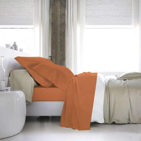Blanc De Blanc - T1200 Cotton Rich Sheet, Tangerine, Queen