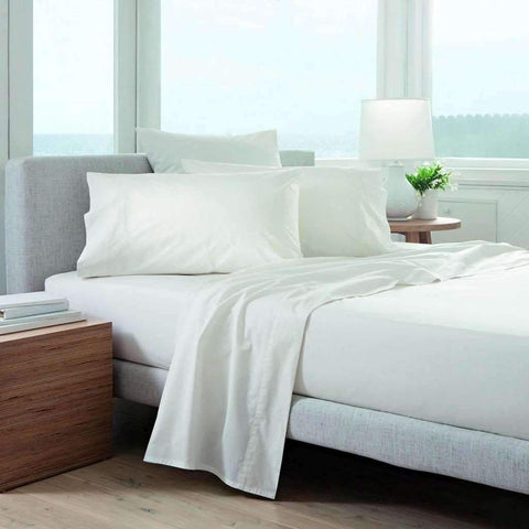 Adrien Lewis - 220 Thread Count Solid Sheet Set, White, King