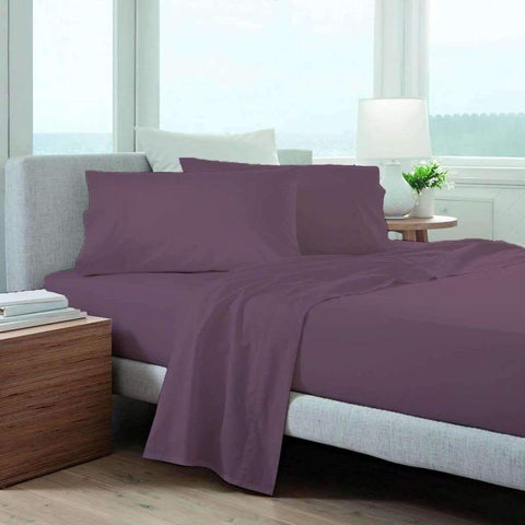 Adrien Lewis - 220 Thread Count Solid Sheet Set, Plum