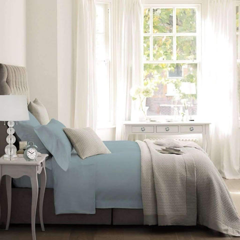 Blanc De Blanc - T1500 Cotton Rich Sheet Set, Light Blue, King