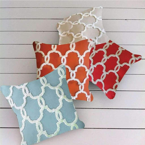 Embroidered Square Cushion Asst