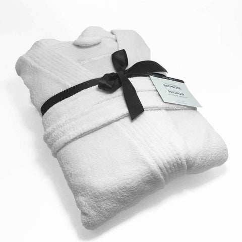 Studio 707 - Short Micro Fleece Bathrobe, White