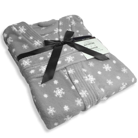Studio 707 - Snowflake Bathrobe Collection, Grey/White
