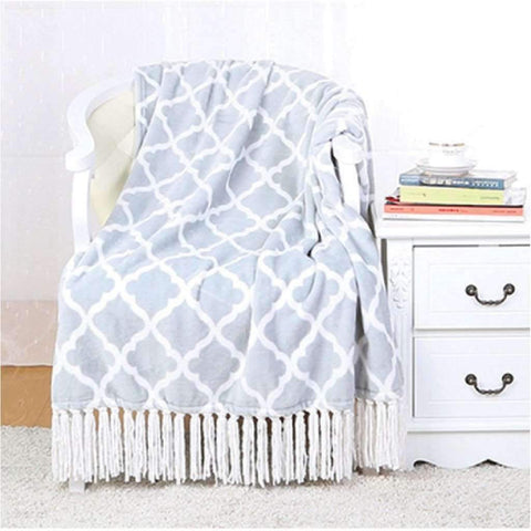 Lauren Taylor - Printed Throw with Fringe, Blue Trellis
