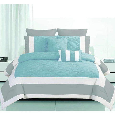 Comforter Set Full Mina 7pc Grey/Blue Microfiber