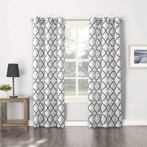 Lauren Taylor - 2 Pack Printed Canvas Grommet Panels, Grey