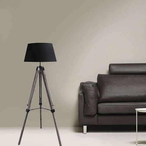 Sandra Venditti -  Tripod Floor Lamp w/ Shade & Wooden Base, Black