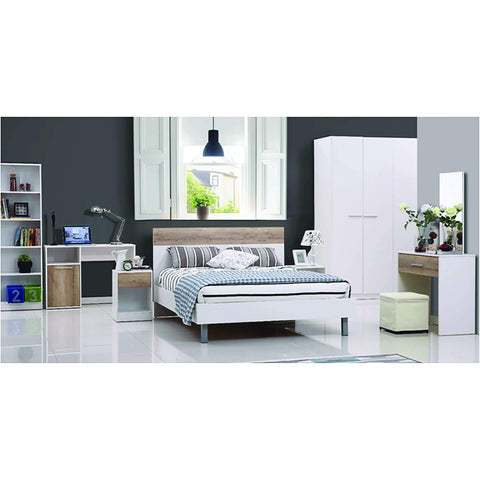 Melamine Bed 155x205cm White Wood