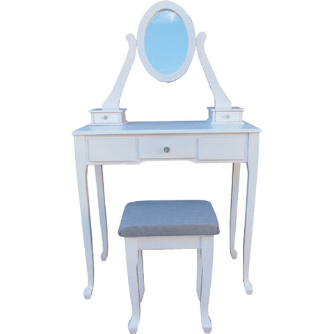 Wood Vanity Set White