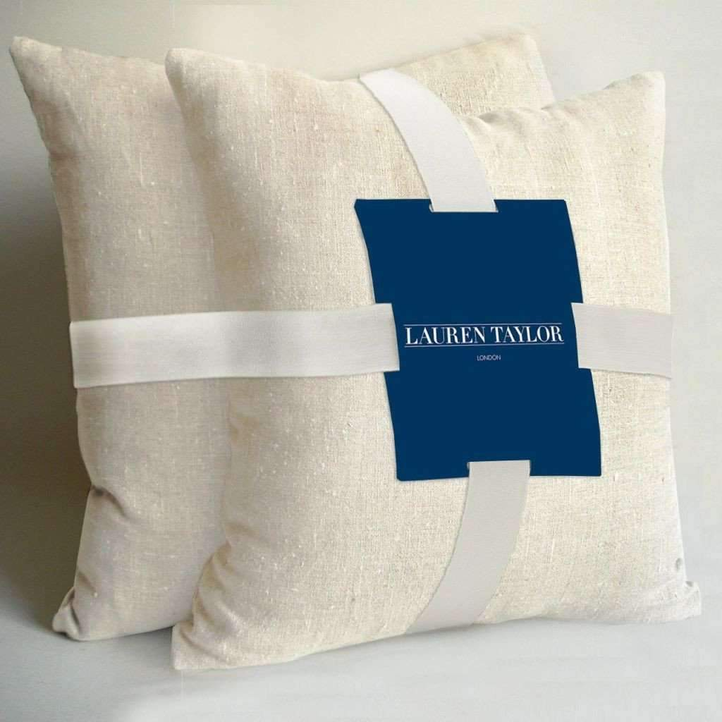 Lauren Taylor - 2 Faux Linen Square Decorative Cushions, Off White