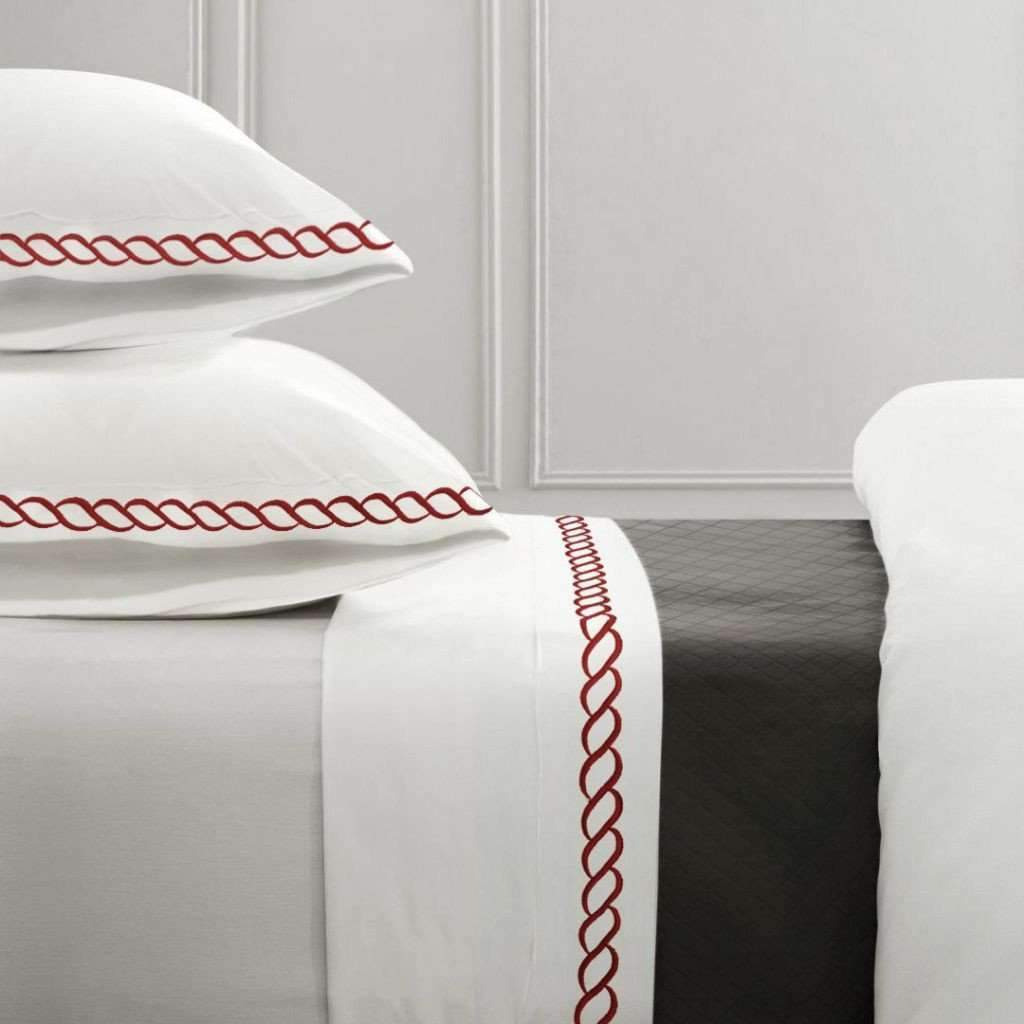 1000 Thread Count Cotton Rich Sheet Set - White/Red