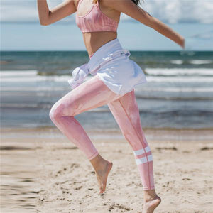 PINK FLAMINGO Gym Top and Striped Leggings