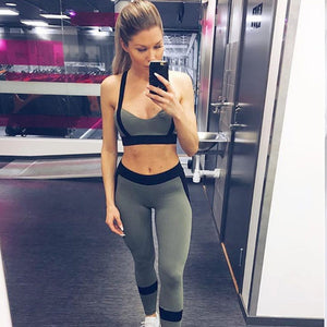 GRAPHITE Gym Bra and Patchwork Leggings