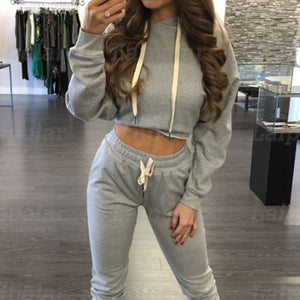 YOGI Long Sleeve Cropped Hoodie and Lace-up Pants