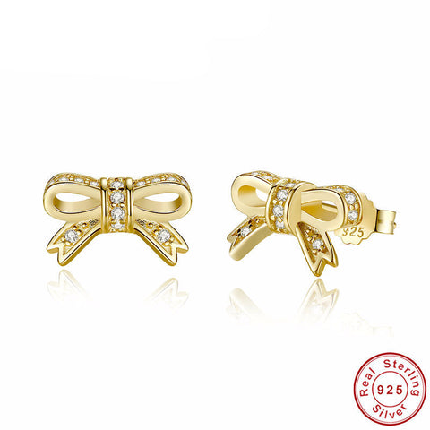 '925 Sterling Silver' Gold Bow Stud Earrings