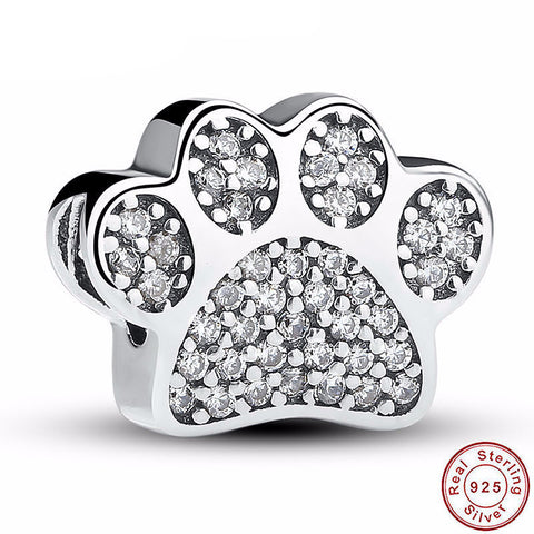 925 Sterling Silver - Animal Paw Print Charm