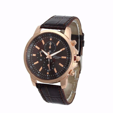Mens Leather Chronograph Watch