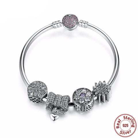 925 Sterling Silver - Womens Charm Bracelet with Knot Heart Charms